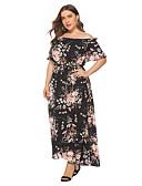 hesapli Print Dresses-Kadın boho bir çizgi elbise - çiçek ipli siyah xxxl xxxxl xxxxxl