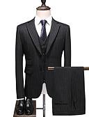 זול טוקסידו-שחור פסים גזרה רגילה פוליאסטר חליפה - פתוח Single Breasted Two-button