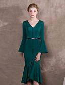 זול שמלות ערב-בתולת ים \ חצוצרה צווארון V א-סימטרי ג'רסי מסיבת קוקטייל שמלה עם סרט על ידי LAN TING Express