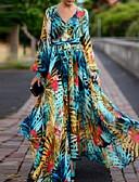 hesapli Maksi Elbiseler-Kadın's Boho Zarif Fener Kol Çan Elbise - Çiçekli, Bağcık Desen V Yaka Maksi