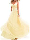 hesapli Mini Elbiseler-A-Şekilli Spagetti Askılı Yere Kadar Şifon Boncuklama / Kristal Detaylar ile Resmi Akşam Elbise tarafından LAN TING Express / Güzel Sırt