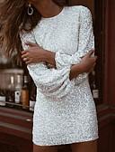 Недорогие Мини-платья-Жен. Облегающий силуэт Платье - Однотонный Мини