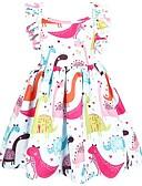 זול שמלות לבנות-שמלה מעל הברך שרוולים קצרים אנימציה פעיל / סגנון רחוב בנות ילדים / פעוטות