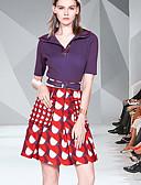 hesapli Mini Elbiseler-Kadın's Temel Zarif A Şekilli Çan İki Parça Elbise - Solid Zıt Renkli, Kırk Yama Desen Diz üstü