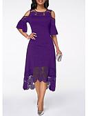 cheap Romantic Lace Dresses-Women's A Line Dress - Solid Colored Lace Hole White Black Purple XXL XXXL XXXXL