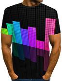 hesapli Erkek Tişörtleri ve Atletleri-Erkek Yuvarlak Yaka Tişört Kırk Yama, 3D Büyük Bedenler Gökküşağı / Kısa Kollu