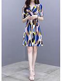 hesapli Print Dresses-Kadın's A Şekilli Elbise - Geometrik Diz üstü