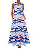 hesapli Print Dresses-Kadın's Vintage A Şekilli Elbise - Yuvarlak Noktalı Çizgili, Desen Maksi