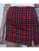 cheap Women's Skirts-Women's Mini Bodycon Skirts - Check Black White Red S M