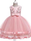 cheap Girls' Tops-Kids Girls' Sweet Cute Floral Beaded Bow Sleeveless Midi Acrylic Polyester Dress Blushing Pink