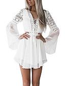 hesapli Mini Elbiseler-Kadın's Temel Zarif Kayakçı Elbise - Solid, Dantel Diz üstü
