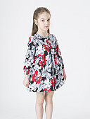 זול שמלות לבנות-שמלה מעל הברך שרוול ארוך פרחוני בסיסי בנות ילדים / כותנה