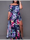 זול שמלות במידות גדולות-סירה מתחת לכתפיים מקסי דפוס, גיאומטרי - שמלה ישרה רזה בגדי ריקוד נשים