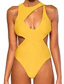 hesapli Bikiniler ve Mayolar-Kadın's Sarı Tek Parçalılar Mayolar - Solid S M L Sarı