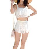 hesapli Bikiniler ve Mayolar-Kadın's Siyah Beyaz YAKUT Tankini Mayolar - Solid M L XL Siyah