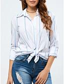 hesapli Kadın Kazakları-Kadın's Pamuklu Gömlek Yaka Salaş - Gömlek Çizgili Temel Mavi & Beyaz Beyaz