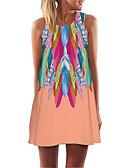 hesapli Mini Elbiseler-Kadın's Kombinezon Elbise - Geometrik Diz üstü