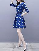 hesapli Print Dresses-Kadın's A Şekilli Elbise - Yuvarlak Noktalı, Desen Diz-boyu