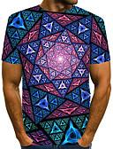 """זול חולצות לגברים-קולור בלוק / 3D / גראפי צווארון עגול סגנון רחוב / מוּגזָם מועדונים האיחוד האירופי / ארה""""ב גודל טישרט - בגדי ריקוד גברים דפוס קשת / שרוולים קצרים"""