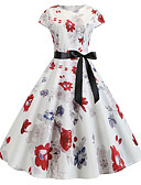 halpa Naisten mekot-Naisten Vintage Tuppi Mekko - Kukka, Painettu Polvipituinen