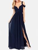 hesapli Kokteyl Elbiseleri-A-Şekilli Spagetti Askılı Yere Kadar Şifon Ayrık Ön ile Resmi Akşam Elbise tarafından LAN TING Express
