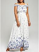 hesapli Büyük Beden Elbiseleri-Kadın's Çan Elbise - Çiçekli Maksi