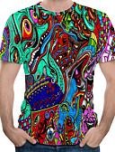 billige T-shirts og undertrøjer til herrer-Rund hals Herre - Farveblok / 3D / Tegneserie Trykt mønster Basale / Punk & gotisk EU / US størrelse T-shirt Regnbue / Kortærmet
