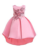 זול שמלות לילדות פרחים-נסיכה א-סימטרי שמלה לנערת הפרחים  - כותנה / פוליאסטר ללא שרוולים עם תכשיטים עם אפליקציות / פפיון(ים) / פרטים מקריסטל על ידי LAN TING Express