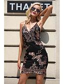 hesapli Mini Elbiseler-Kadın's Temel Zarif Kılıf Elbise - Solid, Nakış Diz üstü