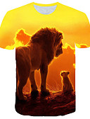 hesapli Erkek Tişörtleri ve Atletleri-Erkek Yuvarlak Yaka Tişört Desen, 3D / Grafik / Hayvan Temel / Abartılı Büyük Bedenler Sarı / Kısa Kollu