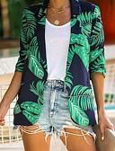 hesapli Maksi Elbiseler-Kadın's Günlük Normal Ceketler, Bitkiler Düz Yaka Uzun Kollu Polyester Yonca S / M / L