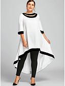 abordables Chemises Femme-Femme Grandes Tailles Maxi Gaine Robe Couleur Pleine Noir Marine Vin XXXL XXXXL XXXXXL Manches 3/4