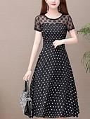 hesapli Romantik Dantel-Kadın's Temel A Şekilli Elbise - Solid Yuvarlak Noktalı Diz-boyu