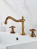 billige Antrekk til magedans-Badekarskran - Antikk Antikk Messing Romersk kar Keramisk Ventil Bath Shower Mixer Taps / To Håndtak tre hull