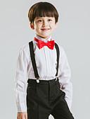 hesapli Yüzük Taşıyıcısı Takımları-Beyaz Polyester / Pamuk Karışımı Yüzük Taşıyıcısı Takımı - 1set Kapsar Gömlek / Pantalonlar / Papyon