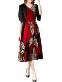 hesapli Print Dresses-Kadın's A Şekilli Elbise - Geometrik Midi