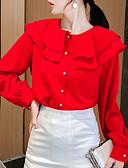 hesapli Tişört-Kadın's Bluz Fırfırlı, Solid Beyaz