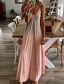 hesapli Kadın Elbiseleri-Kadın's Büyük Bedenler Temel Günlük / Sade Salaş Kombinezon Elbise - Zıt Renkli Düz Batik V Yaka Maksi