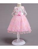 זול שמלות לילדות פרחים-נסיכה באורך  הברך שמלה לנערת הפרחים  - פוליאסטר / טול ללא שרוולים עם תכשיטים עם חרוזים / אפליקציות / תחרה על ידי LAN TING Express