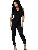 hesapli Kadın Tulumları-Kadın's Siyah Tulumlar, Solid M L XL