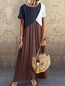 povoljno Maxi haljine-Žene Osnovni Majica Haljina - Kolaž, Color block Maxi