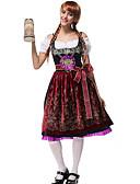 hesapli Oktoberfest-Kasım Festivali üstü dar altı geniş elbise Trachtenkleider Kadın's Bluz Elbise Kemer Bavyera Kostüm Koyu Kırmızı