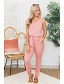 hesapli İki Parça Kadın Takımları-Kadın's Temel Set - Bağcık, Solid Pantolon