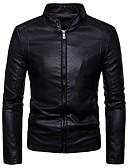cheap Men's Jackets & Coats-Men's Daily Basic Spring &  Fall Regular Denim Jacket, Solid Colored Shirt Collar Long Sleeve Polyester Black / Wine / Brown