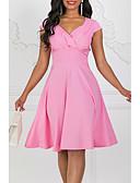 hesapli NYE Elbiseleri-Kadın's Vintage 1950'ler Çan Elbise - Solid V Yaka Diz-boyu / Dışarı Çıkma