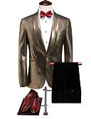hesapli Takım Elbiseler-Altın Solid Standart Kalıp Polyester Takım elbise - Şalyaka Tek Sıra Düğmeli Bir Düğme