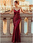 hesapli Gece Elbiseleri-A-Şekilli Spagetti Askılı Yere Kadar Polyester / Payetli Payet ile Resmi Akşam Elbise tarafından LAN TING Express / Pullu ve Işıltılı