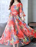 hesapli Print Dresses-Kadın's Zarif Çan Elbise - Çiçekli Maksi Papatya