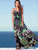 abordables robe grande taille-Femme Maxi Balançoire Robe Géométrique Vert S M L Sans Manches