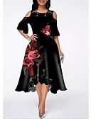 hesapli Vintage Kraliçesi-Kadın's Sokak Şıklığı A Şekilli Elbise - Çiçekli, Dantel Fırfırlı Midi